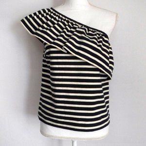 J.Crew Striped One Shoulder Ruffle Top X-Small XS